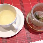 魚のスープ ZUPPA DI PESCE - レモングラスとローズマリーとミントの紅茶。 紅茶もなかなか香り高くおいしい