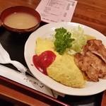 ヤナギ - 「オムドラ」+「しょうが焼き」のセットで 1100円