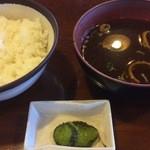 国八食堂 - 定食のご飯・味噌汁・漬物