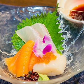 """日本人の食文化""""お造り""""は四季昼膳よりお付けいたしております"""