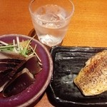 42385984 - 鰹たたき、伊佐大泉、赤魚西京焼き