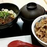 松屋 - 牛めしミニ240円+冷やし坦々うどん390円