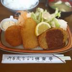 味楽亭 - ミックスフライC                             (クリームコロッケー魚フライーメンチカツ)