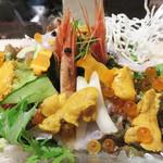 英二楼・ふぐ・いか・あら・和食 - うに&甘海老&いくら&かんぱち×しそドレッシング野菜海鮮サラダ 1,100円                             「宝石箱や~♪」っていう位美しいです。