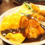 カフェレストラン マヤ - オムライスプレート(ヒレカツ2枚、エビフライ、サラダ、みそ汁付) 1200円