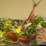 42407107 - マグロ、あじなどの3点盛り(鮮魚)/2015年9月来店