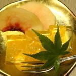 越後屋 久保田 - 旬を彩る果実寄せ(デザート)・もも&オレンジのゼリー/2015年9月来店