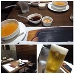 竃 円山 - ◆「ビール(648円:外税)」を頂きます。 ◆最初に「スープ」が出されましたが「コンソメ風味」で軽い味わい。