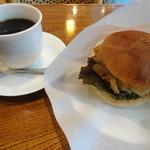 喫茶 Wing - 料理写真:アメリカン+白えびかき揚げバーガー