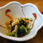 うなぎのやっこ - 水菜のお浸し