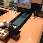 沼津魚がし鮨 流れ鮨 浜松市野店 - テーブル席 真ん中にベルトコンベアがっ!