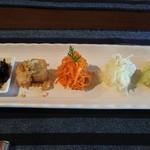 きた川 - 前菜、茄子、ジャガイモ、人参、長芋、干しシイタケ
