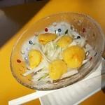 げんぞう - 料理写真:「ほやのへそレモン酢 (400円)」、「ホヤ」一個につい一つだけあるのが「へそ」