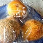 42584797 - 餡パン、シュガ-バタ-パン、黒糖生姜パン