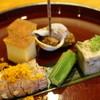 Takamura - 料理写真:先付:しゃことからすみ、おくら、螺貝、玉子焼きなど