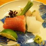 日本料理 たかむら - お造り:本鮪、かわはぎ、烏賊