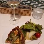 パルコデッラパーチェ - エビとモロッコ豆のキッシュ   。白ワイン(スペイン産白)
