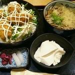 清修庵 - 牡蠣フライ丼定食1180円。かけうどん、