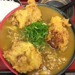 極楽うどん TKU - どうですかー!!並々としたカレー出汁、丸々とした鶏天、艶々としたうどん!!たまらんぜよ*\(^o^)/*