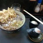 42613417 - かき揚げ蕎麦+鮭