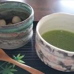 観瀾亭 - 冷やし白玉ぜんざいと抹茶