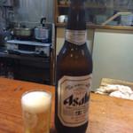 魚喜 - 瓶ビールは大瓶です。麒麟とアサヒが選べます。
