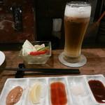 嵯峨根屋 - お通し&生ビール(アサヒスーパードライ)