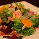 ピッツエリア ファッブリカ トクマル - 2015年10月 アオリイカと炙りサゴシのカルパッチョサラダ仕立て