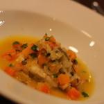ピッツエリア ファッブリカ トクマル - 2015年10月 鮃のワイン蒸し オレンジが隠し味 スープしたて風