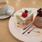 カフェ ド ラ・ポムベール  - イチゴショート、モンブラン セット1200円