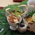 銀座 小十 - 八寸:いちじく、かわいもの味噌漬、秋刀魚