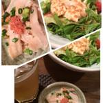 小滝野 - お通しの酢もつ、寄せ豆腐の胡麻ドレッシングサラダ