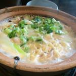 42693968 - 鶏ぶつ切り葱鍋麺(¥1200)→豚饅頭・香の物付き
