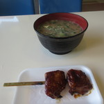 筑波山ケーブルカー 宮脇駅売店 - キノコ汁400円、鳥の照り焼き250円