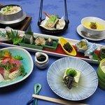 島家 - 料理写真:島家のおすすめコース あやめ¥3780(税込み)器が華やかで、釜飯付きです!