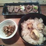 魚歌家 - 栗おこわ・猪肉の炙り焼き・香の物