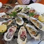 ビストロ ダイア - ダイア風牡蠣の饗宴。それぞれソースが違います。これで二人分の前菜ですよ       !!!