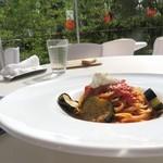 42728696 - リコッタチーズと揚げナスのスパゲッティ