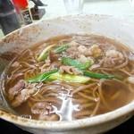 更科 - 肉南そば520円少し濃いめの出汁と肉の味わいコラボ