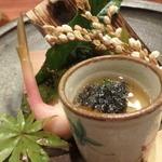 """いと賀 - 焼き物はのどぐろ、松茸、島根牛ロースです。                             てまえが""""そば飯""""の蒸し物です。"""