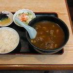 力餅 - 肉カレーうどん定食。650円。美味しかったです。ごちそうさま