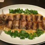 42757642 - まさに祝賀料理!真鯛と金華ハムの麒麟蒸し。国賓になった気分です。