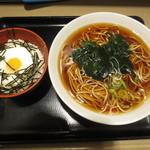 名代 富士そば - ミニとろろ丼セット 520円(2015.9)