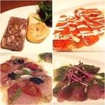 牡蠣と地中海料理 ALEGRIA - 砂肝のパテとカルパッチョ3種(サーモン、エゾメバル、ハマチ)