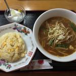 餃子酒家 平大将 - 味噌ラーメン+半炒飯¥500(日替ランチ)