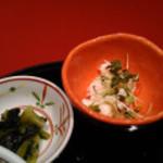 北の海道 新宿エルタワー店 - 御新香とポテトサラダ