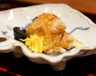 松川 - 2015.10 炙った伊勢海老 菊の花 岩茸 土佐酢ジュレ