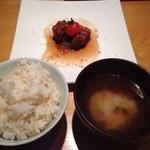 ノーザンロッジカント - 道産豚バラの煮込み&玄米ご飯/汁物