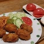 そば太田 - 牡蠣フライはふつう。タルタル付き。