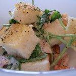 4279192 - ほうれん草のサラダはサイコロトースト+ほうれん草+ベーコン+マヨベースのソース♪